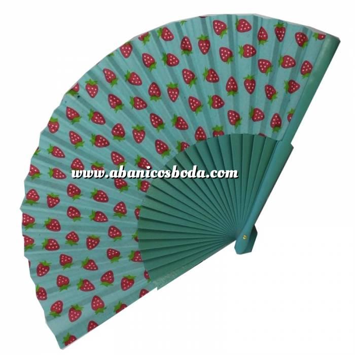 Imagen Abanico de Frutas Abanico de frutas - Modelo Turquesa con estampado de Fresas (Últimas Unidades)