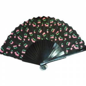Abanico de Frutas - Abanico de frutas - Modelo Negro con estampado de Cerezas